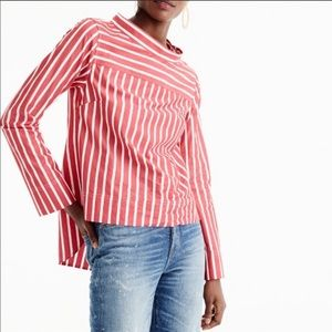 J. CREW RED STRIPE FUNNELNECK BLOUSE